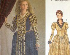 Queen's Gown, Princess Renaissance Dress Size 14,16,18,20 Costume Butterick 5114 Sewing Pattern Uncut