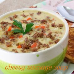 Delicious fall comfort soup made over with Johnsonville Sweet Italian Sausage. My starting recipe was a cheese burger soup found on Allrecipes.com. Would be yummy with a hot sausage also. #AllstarsJville #JvilleKitchens #fall