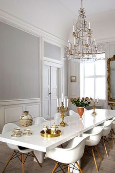 Very pretty white dining set and chandelier