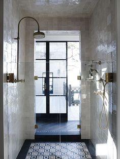 Simple, sophisticated, galley bathroom