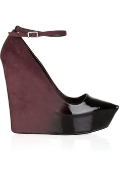theyskens' theory patent-leather and suede ombre wedges.