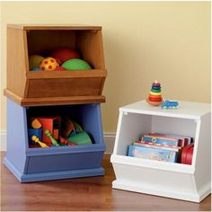Wooden bins from @Matty Chuah Land of Nod are a great storage solution!
