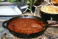 Duck Dynasty party foods - baked beans in cast iron skillet