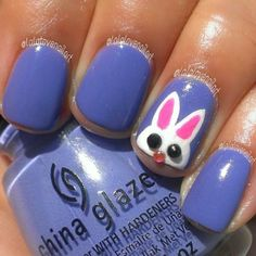 Easter bunny spring nails -- the nose is a rhinestone!