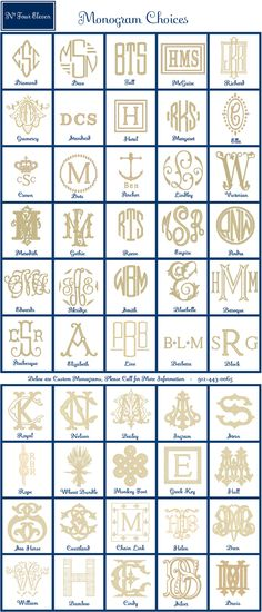 monogram chart - great reference for times you need something other than a traditional monogram