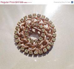 Fall Jewelry Sale Vintage gold brooch green by PaganCellarJewelry, $14.39