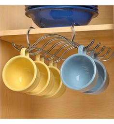 Mug rack, this would help add some space to my already jam packed cabinets!