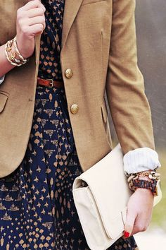 Printed dress, belt, blazer, work outfit