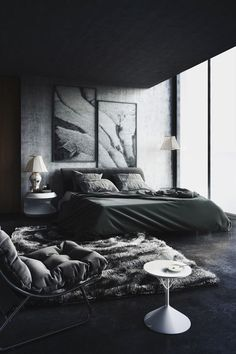 Bedroom in full blac