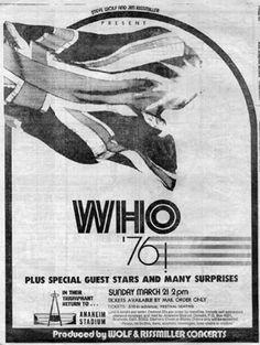 The Who March 21, 1976 Anaheim Stadium