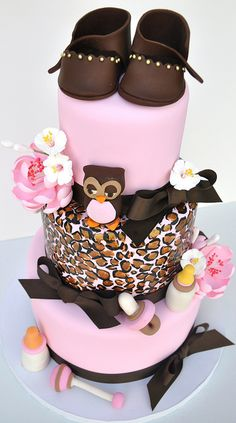 #Tiered #Baby #Shower #Cake with #Pinks & #Browns! #Cute #Owl #Leopard print too and sweet #Bootees! We love and had to share! Great #CakeDecorating