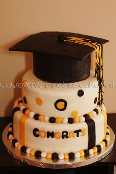 Black and gold graduation party cake idea