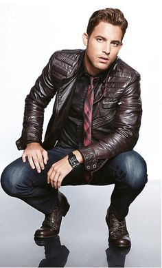 Brown Leather Biker Jacket, Rep Tie, Worn Fitted Jeans, and Brown Leather Lace Up Boots. Men's Fall Winter Fashion biker jackets, men's fall fashion, guy style, men fashion, winter fashion, leather men, leather jackets, winter trends, fashion fall