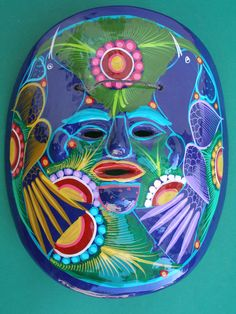 Hand painted Clay Mask - Mexican pottery