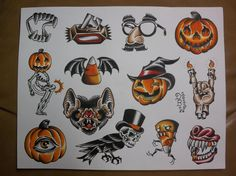 Halloween: Traditional Tattoo Flash Sheet. $10.00, via Etsy.