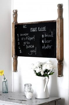 salvaged head board turned chalkboard