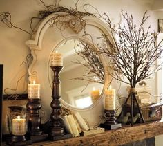 mirror, fall mantels, decorating ideas, branch, fall decorating, candl, mantl, pottery barn, mantel decorations