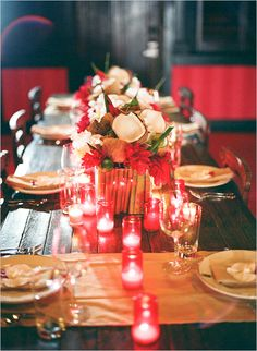 tablescapes with hues of  red
