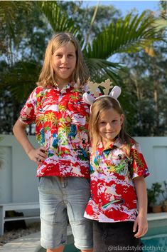 Cute Kids Christmas Shirts - Red Surfing Santa. Also available in adults sizes with matching shorts. #christmasshirts #hawaiianshirts #kidsxmasshirts #xmas2019