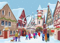 iCLIPART - Royalty Free Clipart Image of a Town in Winter