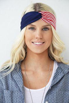 The 'Merica Patriotic Winter Olympics Fourth Of July Stars and Stripes American Flag Turban Headband on Etsy, $14.50