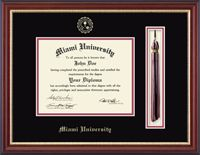 Looking for a diploma frame with tassel holder? The Tassel Diploma Frame allows you to proudly display your diploma, alongside your graduation tassel creating a distinctive and unique keepsake to help you remember and celebrate your important achievement.  Each frame features your official school seal and name embossed on museum-quality matting. This frame also features a shadowbox opening to insert your tassel. Search for your college or university today!