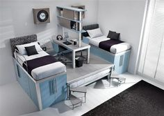 Blue teenager loft space