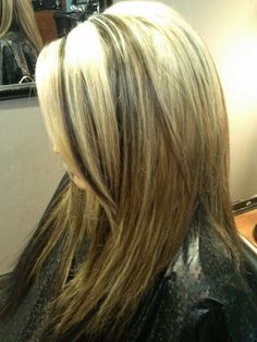 Blonde chunky highlights with auburn base hair layers long side bsng ...