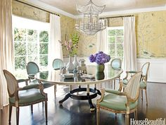 "The dining room in a Beverly Hills, California home is ""formal, with a glamorous, young point of view,"" designer Martyn Lawrence Bullard says."