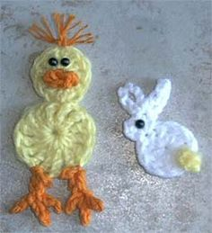 duck and bunny - free crochet patterns