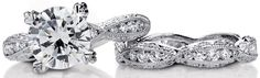 A stunning Tacori wedding set: engagement ring 2578RD9 and wedding band 2578 B.  Via Diamonds in the Library.