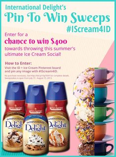 International Delight's Pin to Win #IScream4ID Sweepstakes #summer #creamer #coffee #cookies
