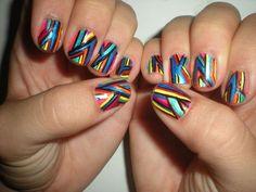 color, stripe nail, nail arts, beauti, awesom nail, rainbow, hair