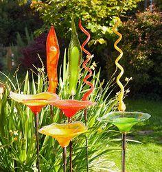 Robert Adamson-glass garden ornaments.