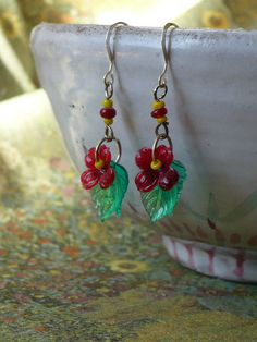Earrings  Red Flowers by TaibiTime on Etsy, $18.00