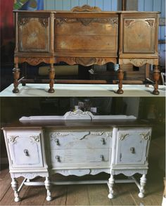 This walnut sideboard is painted with Chalk Paint™ a blend of Louis Blue and Paris Grey with a wash of Old Ochre.  It's finished with both clear and Dark Wax and the top was left natural.