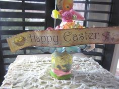 Vintage looking Easter mixed media decoration by BoxerladyPrims, $10.00