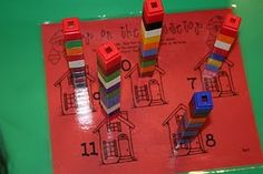 Chimney Math math tubs, december, christmas fun, cubes, children, math activities, house numbers, community helpers, preschool