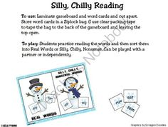Real or Silly Chilly Nonsense Words- Your little readers will giggle and learn while reading and then sorting these words into Real or Silly, Chilly Nonsense Words. CVC words will help early readers with decoding and reading CVC words.