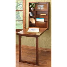 Fold-open Convertible Desk, Walnut; A wall into work-space