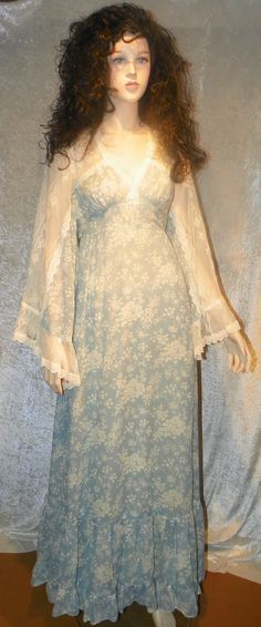 Gunne Sax Angel Sleeve Dress Sz 5 Baby Blue & by DownInTheBasement, $69.00