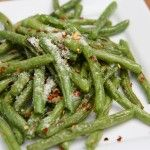 Oven Roasted Green Beans with Parmesan and Red Pepper
