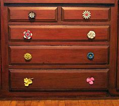 using old brooches as drawer pulls