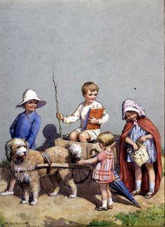 galleries, artists, dog cart, dogs, tarrant illustr, margaret tarrant, art creation, children, vintag illustr