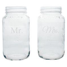 'mr' & 'mrs' mason jars