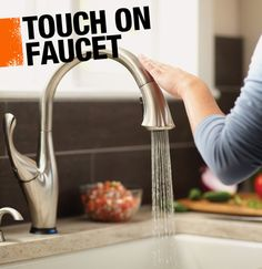 A touch on faucet turns on and off with just a single touch along the spout or handle, eliminating the need to grab the handle with grimy hands!
