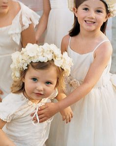 Give flower girls wreaths of white orchids