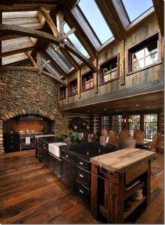Love the ski lodge/log cabin feel.