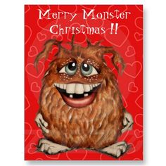 Merry Monster Christmas Postcard by SimonaMereuArt $1.35