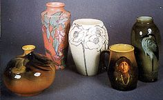 """(Left-Right) Standard Glaze, Matte Glaze, Floral Early Vellum Glaze, Poppies Standard Glaze, Mug Portrait, Sea Green Glaze with Egret: Maria Longworth Nichols Storer founded Rookwood Pottery in 1880...she eventually built her own kiln, hired a number of excellent chemists and artists who were able to create high-quality glazes of colors never before seen on mass-produced pottery (http://en.wikipedia.org/wiki/Rookwood_Pottery_Company). The Rookwood """"look"""" has shifted over the lifetime of the Co."""